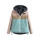 Zipper Hooded Long Sleeve Patchwork Padded Coat