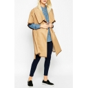 Lapel Short Sleeve Single Breasted Long Coat