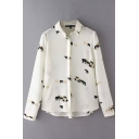 Button Down Long Sleeve Lapel Print Shirt