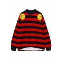 Round Neck Stripes Long Sleeve Embroidery Sweatshirt