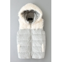 Faux Fur Hooded Sleeveless Zipper Gray Vest