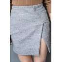 Zipper Fly Bodycon Split Front Plain Mini Tweed Skirt