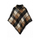 Lapel Plaid Asymmetrical Horn Button Cape
