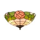 Tiffany Pink Rose Flush Mount Ceiling Light