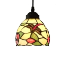 Tiffany Mini Hanging Pendant Lighting Country Style 5 Inch  with Dragonfly Pattern