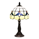 8 Inch Blue Blossom Pattern Mini Beside Table Lamp in Stained Glass Style
