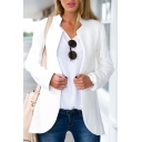 Stand Up Neck Long Sleeve White Open Front Blazer