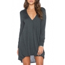 V-Neck Long Sleeve Gray T-Shirt Dress