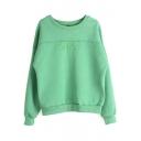 Round Neck Long Sleeve Plain Embroidery Sweatshirt