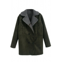 Notched Lapel Long Sleeve Double Breasted Dark Green Coat