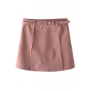 Belt Waist Plain A-Line Mini Tweed Skirt