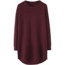 Plain Long Sleeve Round Neck Midi Knit Dress