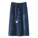 Drawstring Waist Maxi Button Detail Embroidery Denim Skirt