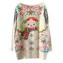 Christmas Snowman Print Scoop Neck Long Sleeve Sweater