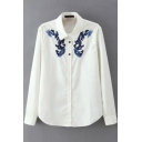 Lapel Button Down Long Sleeve Embroidery Shirt