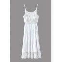 Straps Lace Patchwork Plain Maxi Dress