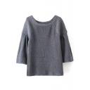 Scoop Neck 3/4 Length Raglan Loose Sleeve Plain Sweater