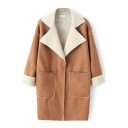 Lamb Wool Lining Notched Lapel Suede Double Pockets Coat