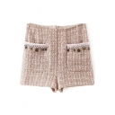 Tweed High Waist Zip Back Double Pockets Pendant Detail Shorts