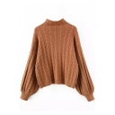 High Neck Cable Knit Balloon Sleeve Plain Sweater