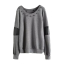 Skull Rivet PU Patchwork Color Block Sweatshirt