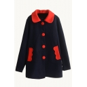 Contrast Collar Single Breasted Color Block Tweed Coat