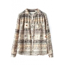 Stand Up Neck Long Sleeve Double Pockets Tribal Print Shirt