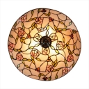 Round Pink Blossom Tiffany Style Flush Mount Ceiling Light