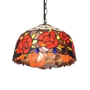 Flower Theme Stained Glass Hanging Light in Tiffany Style