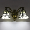 Bell Shape Lodge Style 2 Lights Tiffany Wall Lamp