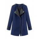 Patchwork Inclined Zipper Long Tweed Collarless Coat