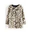 Leopard Print Faux Fur Open Front Long Coat