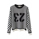 Plaid Number Color Block Pullover Long Sleeve Sweater