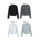 Round Neck Long Sleeve Pullover Cropped Tee