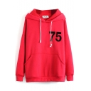 Hooded Long Sleeve Letter Print Plain Sweatshirt