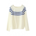 Square Neck Long Sleeve Stripe Trims Sweater