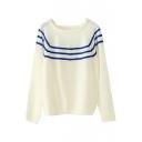 Square Neck Long Sleeve Stripe Trims Sweater