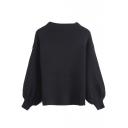 High Neck Long Sleeve Elastic Wrist Plain Sweater