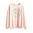 Round Neck Long Sleeve Print Pullover Sweatshirt