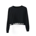 Long Sleeve Letter Print Cropped Sweatshirt