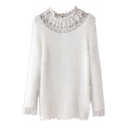 Lace Detail Round Neck Long Sleeve Plain Sweater