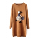 Round Neck Long Sleeve Cartoon Print Midi Dress