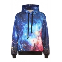 Hooded Long Sleeve Galaxy Print Sweatshirt