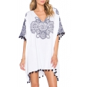 V-Neck Half Sleeve Tribal Print Tassel Hem Dress