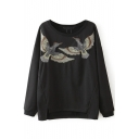 Round Neck Long Sleeve Bird Embroidery Sweatshirt