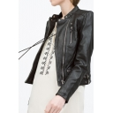 Stand Up Neck Long Sleeve Zipper PU Cropped Jacket