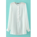 Round Neck Button Long Sleeve Plain Blouse