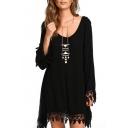 Scoop Neck Long Sleeve Black Lace Hem Dress