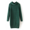 High Neck Long Raglan Sleeve Split Side Long Sweater