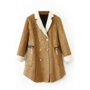 Metallic Double Breasted Lamb Wool Patchwork Long Sleeve Coat